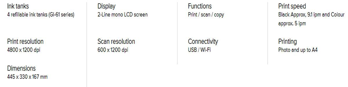 Canon PIXMA G3625 Specifications